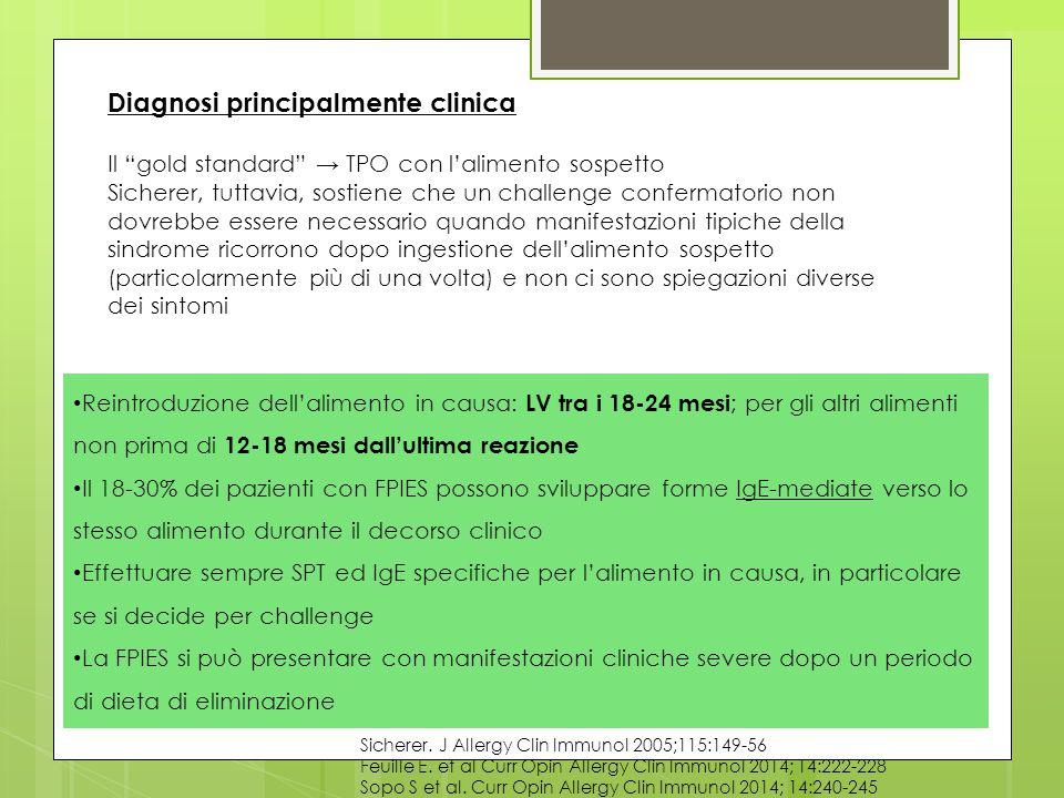 Sicherer. J Allergy Clin Immunol 2005;115:149-56 Feuille E. et al Curr Opin Allergy Clin Immunol 2014; 14:222-228 Sopo S et al. Curr Opin Allergy Clin