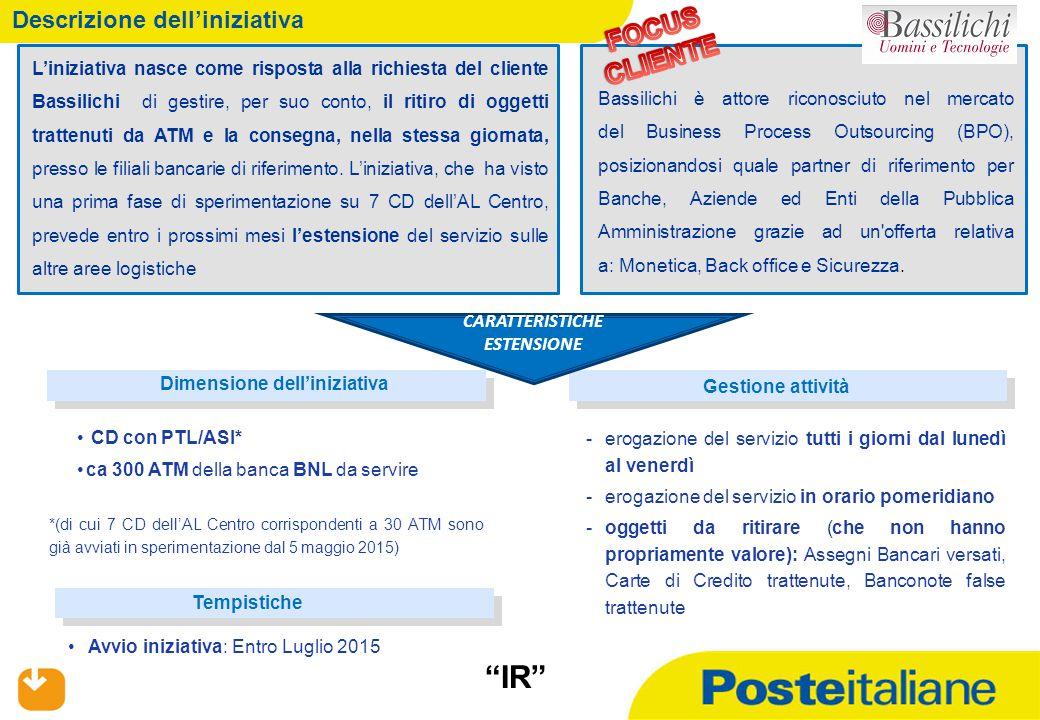 01/07/2015 Descrizione dell'iniziativa 2 L'iniziativa nasce come risposta alla richiesta del cliente Bassilichi di gestire, per suo conto, il ritiro d