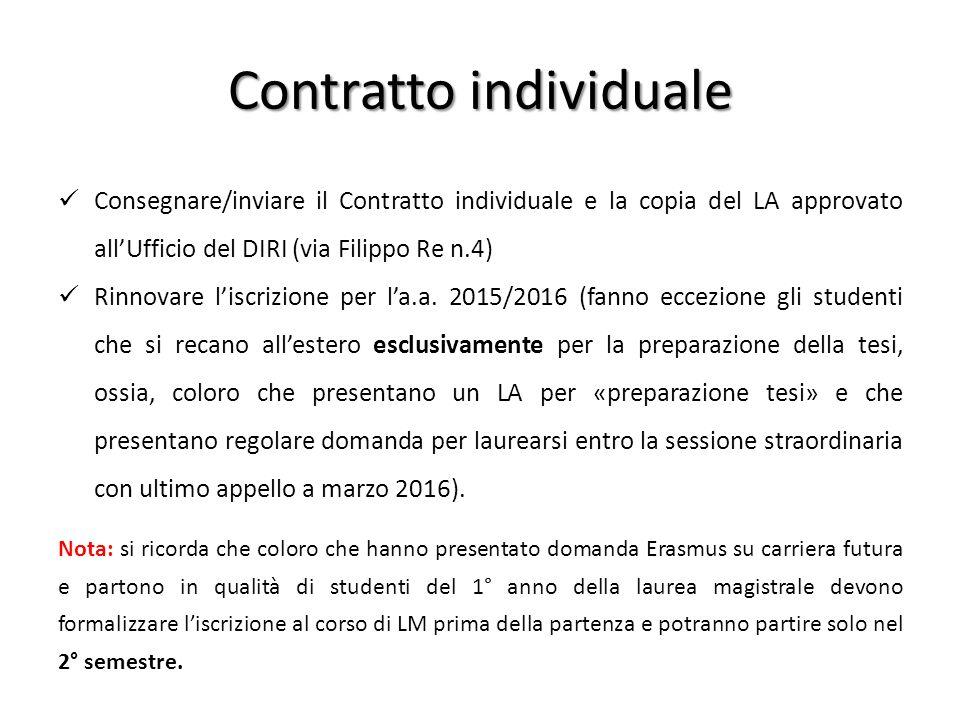 Contratto individuale Consegnare/inviare il Contratto individuale e la copia del LA approvato all'Ufficio del DIRI (via Filippo Re n.4) Rinnovare l'is