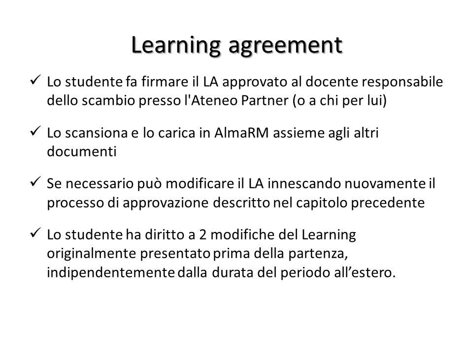 Learning agreement Lo studente fa firmare il LA approvato al docente responsabile dello scambio presso l'Ateneo Partner (o a chi per lui) Lo scansiona