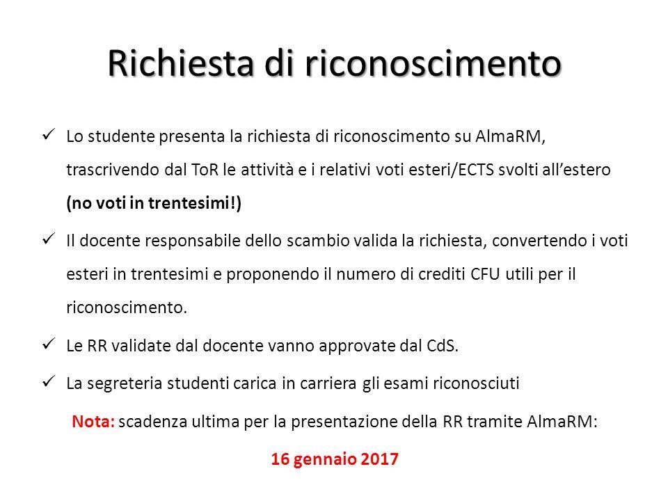 Richiesta di riconoscimento Lo studente presenta la richiesta di riconoscimento su AlmaRM, trascrivendo dal ToR le attività e i relativi voti esteri/E
