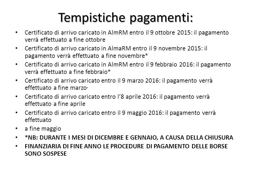 Tempistiche pagamenti: Certificato di arrivo caricato in AlmRM entro il 9 ottobre 2015: il pagamento verrà effettuato a fine ottobre Certificato di ar