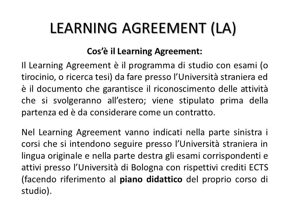 LEARNING AGREEMENT (LA) Cos'è il Learning Agreement: Il Learning Agreement è il programma di studio con esami (o tirocinio, o ricerca tesi) da fare pr