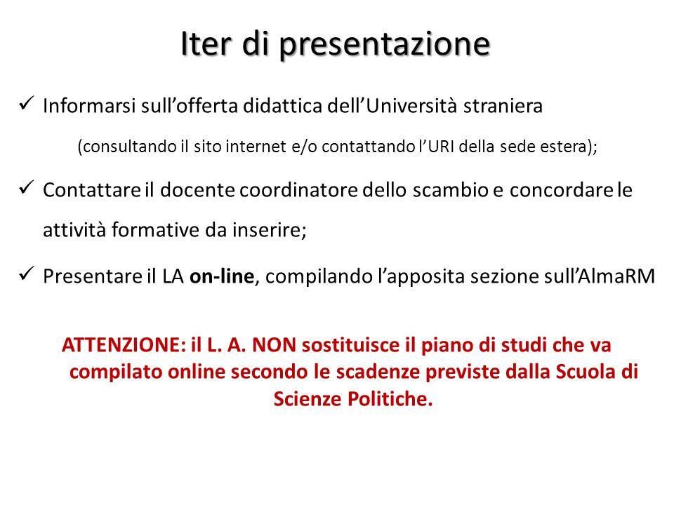 Iter di presentazione Informarsi sull'offerta didattica dell'Università straniera (consultando il sito internet e/o contattando l'URI della sede ester