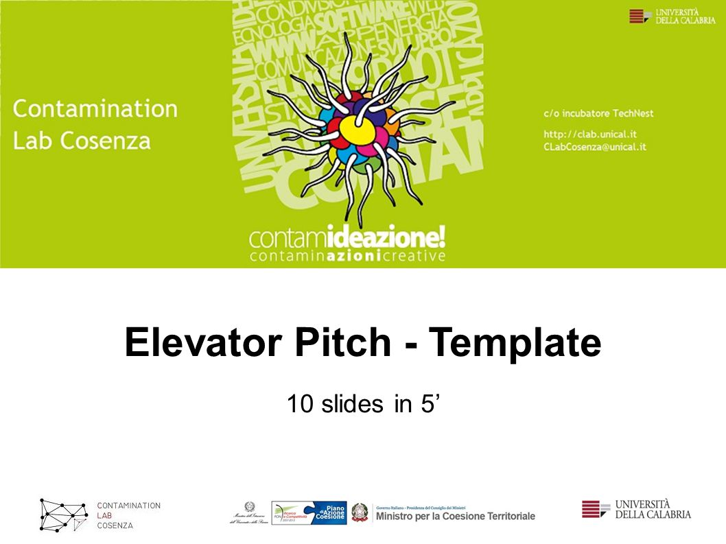 Elevator Pitch - Template 10 slides in 5'