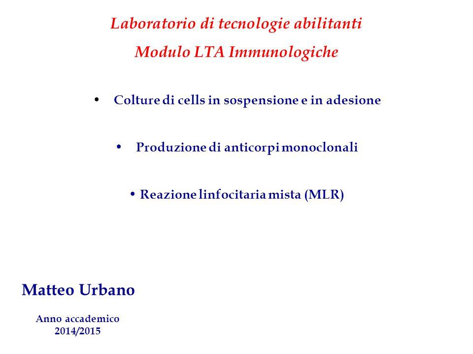 Laboratorio di tecnologie abilitanti Modulo LTA Immunologiche Colture di cells in sospensione e in adesione Produzione di anticorpi monoclonali Reazio