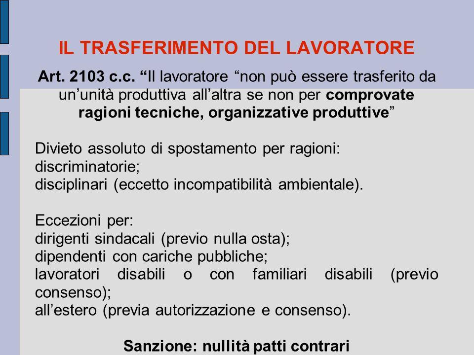 """IL TRASFERIMENTO DEL LAVORATORE Art. 2103 c.c. """"Il lavoratore """"non può essere trasferito da un'unità produttiva all'altra se non per comprovate ragion"""
