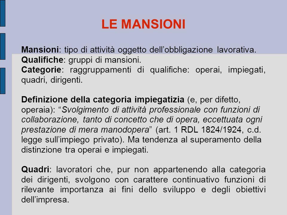 LE MANSIONI Mansioni: tipo di attività oggetto dell'obbligazione lavorativa. Qualifiche: gruppi di mansioni. Categorie: raggruppamenti di qualifiche: