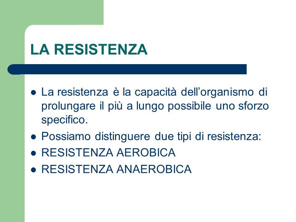 LA RESISTENZA La resistenza è la capacità dell'organismo di prolungare il più a lungo possibile uno sforzo specifico. Possiamo distinguere due tipi di