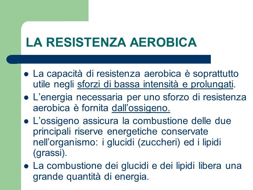 LA RESISTENZA AEROBICA La capacità di resistenza aerobica è soprattutto utile negli sforzi di bassa intensità e prolungati. L'energia necessaria per u