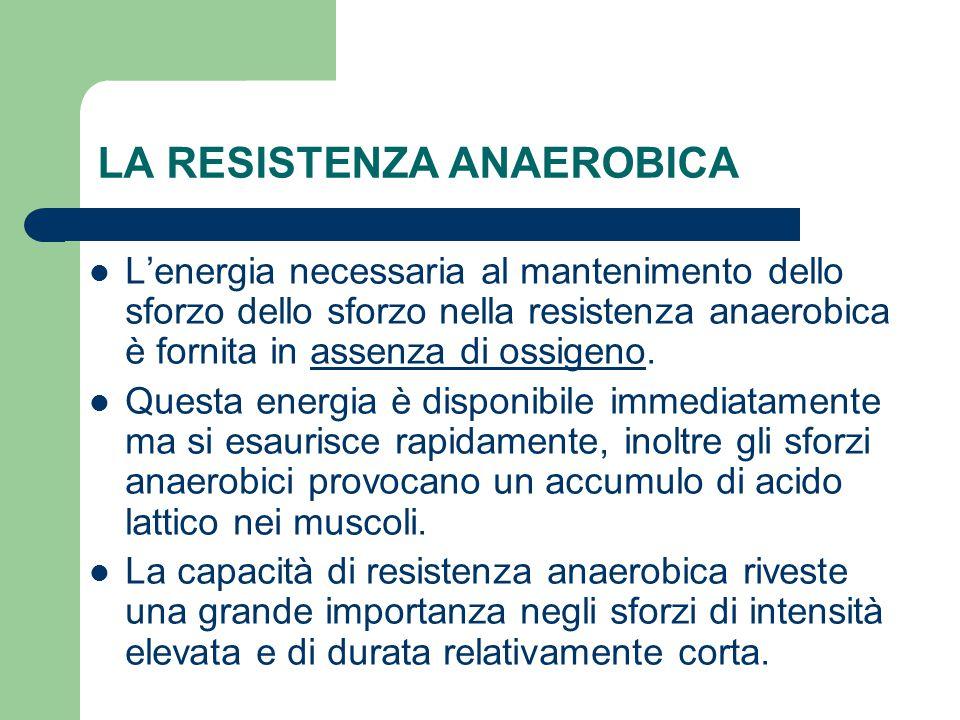 LA RESISTENZA ANAEROBICA L'energia necessaria al mantenimento dello sforzo dello sforzo nella resistenza anaerobica è fornita in assenza di ossigeno.