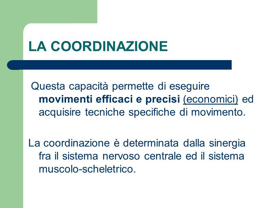 LA COORDINAZIONE Questa capacità permette di eseguire movimenti efficaci e precisi (economici) ed acquisire tecniche specifiche di movimento. La coord