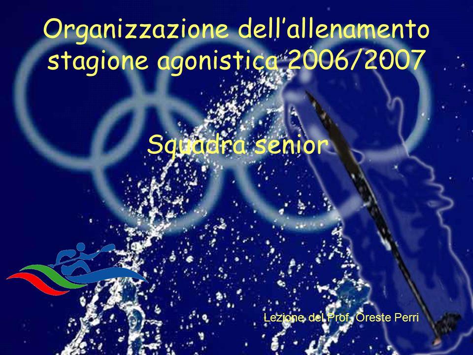 Organizzazione dell'allenamento stagione agonistica 2006/2007 Lezione del Prof. Oreste Perri Squadra senior