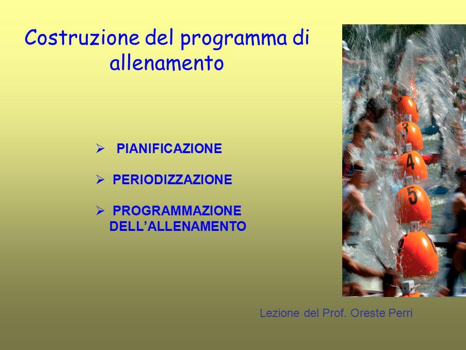 Costruzione del programma di allenamento Lezione del Prof. Oreste Perri  PIANIFICAZIONE  PERIODIZZAZIONE  PROGRAMMAZIONE DELL'ALLENAMENTO