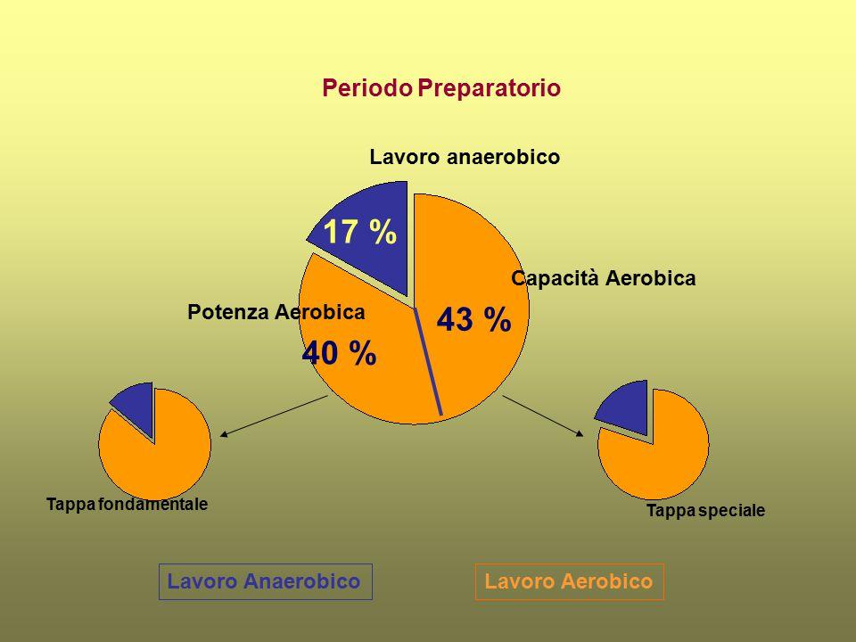 Lavoro AerobicoLavoro Anaerobico Periodo Preparatorio Capacità Aerobica Potenza Aerobica Lavoro anaerobico 43 % 17 % Tappa fondamentale Tappa speciale