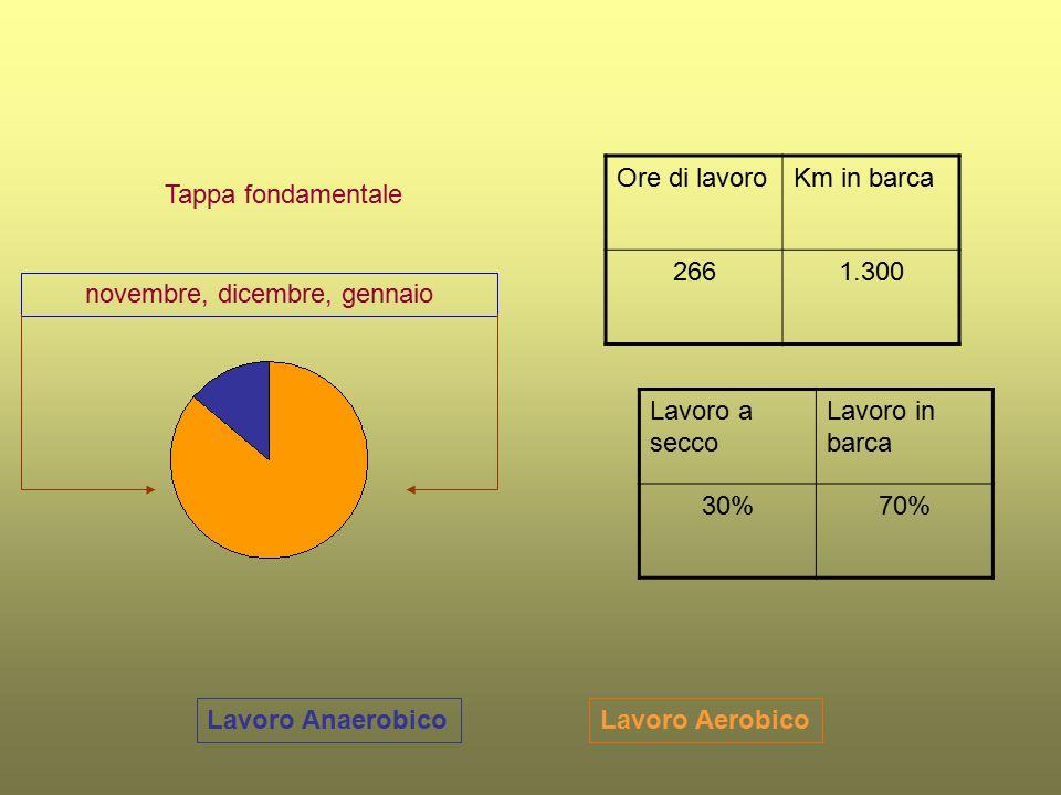 Lavoro AerobicoLavoro Anaerobico Tappa fondamentale Ore di lavoroKm in barca 2661.300 Lavoro a secco Lavoro in barca 30%70% novembre, dicembre, gennai