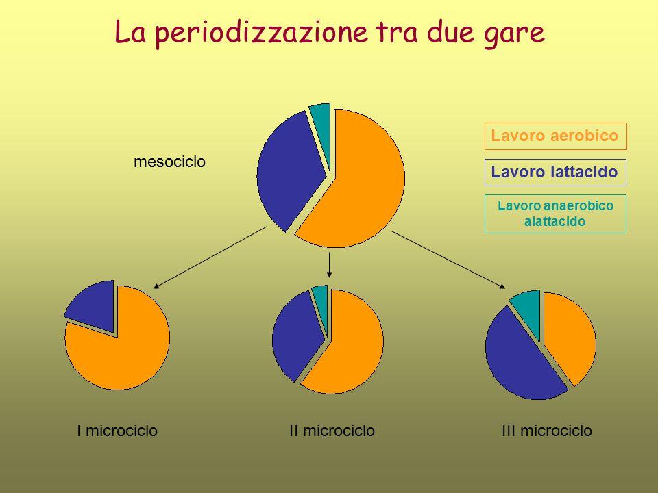 La periodizzazione tra due gare I microcicloII microcicloIII microciclo Lavoro aerobico Lavoro lattacido Lavoro anaerobico alattacido mesociclo