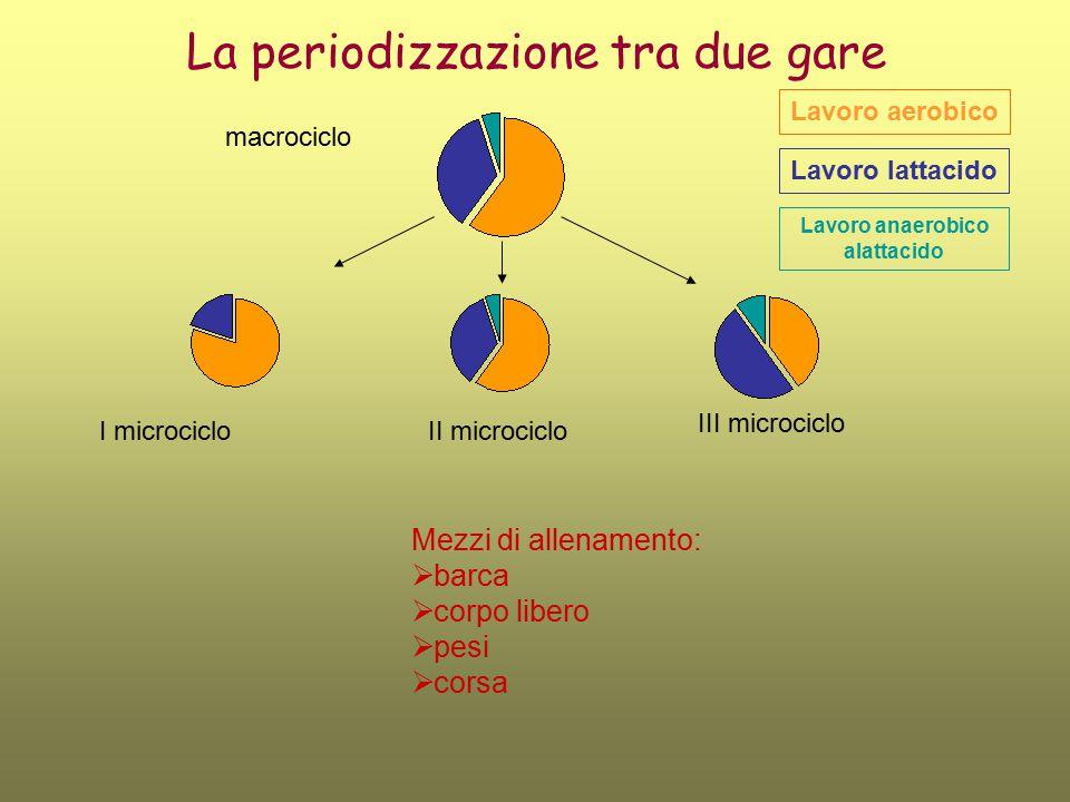 La periodizzazione tra due gare I microcicloII microciclo III microciclo Lavoro aerobico Lavoro lattacido Lavoro anaerobico alattacido macrociclo Mezz