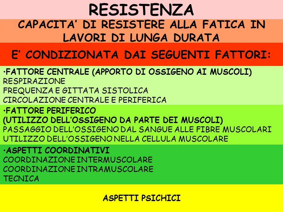 RESISTENZA CAPACITA' DI RESISTERE ALLA FATICA IN LAVORI DI LUNGA DURATA E' CONDIZIONATA DAI SEGUENTI FATTORI: FATTORE CENTRALE (APPORTO DI OSSIGENO AI