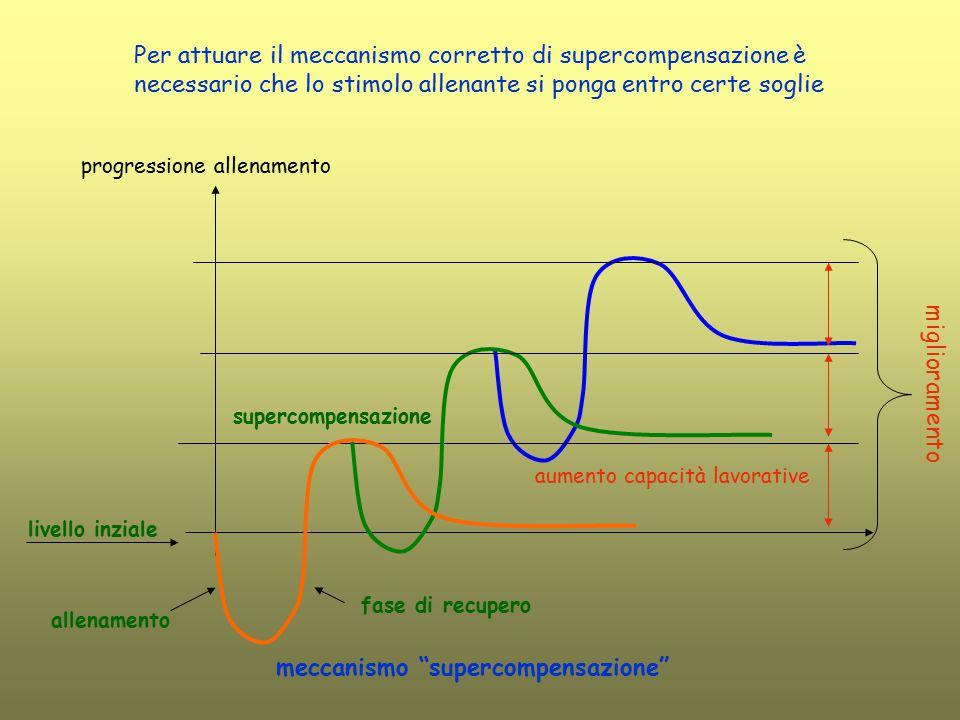 livello inziale allenamento fase di recupero supercompensazione aumento capacità lavorative progressione allenamento Per attuare il meccanismo corrett