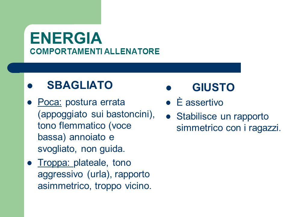 ENERGIA COMPORTAMENTI ALLENATORE SBAGLIATO Poca: postura errata (appoggiato sui bastoncini), tono flemmatico (voce bassa) annoiato e svogliato, non gu