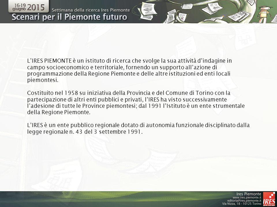L'IRES PIEMONTE è un istituto di ricerca che svolge la sua attività d'indagine in campo socioeconomico e territoriale, fornendo un supporto all'azione di programmazione della Regione Piemonte e delle altre istituzioni ed enti locali piemontesi.