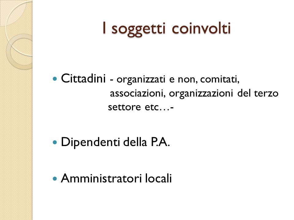 Organizzazione amministrativa collaborazione con i cittadini attivi La collaborazione con i cittadini attivi quale funzione istituzionale dell'ente locale.