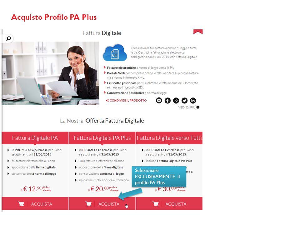 Acquisto Profilo PA Plus Selezionare ESCLUSIVAMENTE il profilo PA Plus