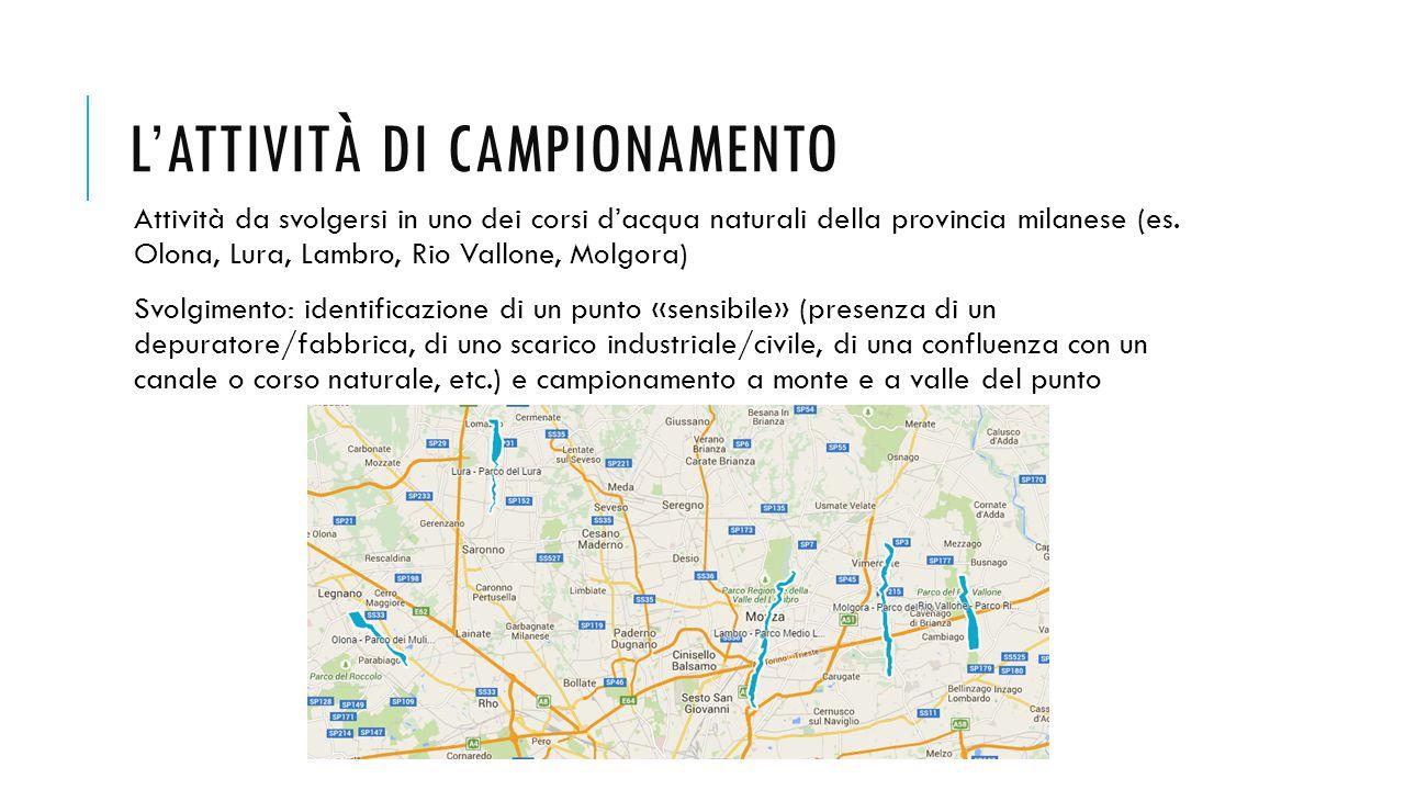 L'ATTIVITÀ DI CAMPIONAMENTO Attività da svolgersi in uno dei corsi d'acqua naturali della provincia milanese (es.