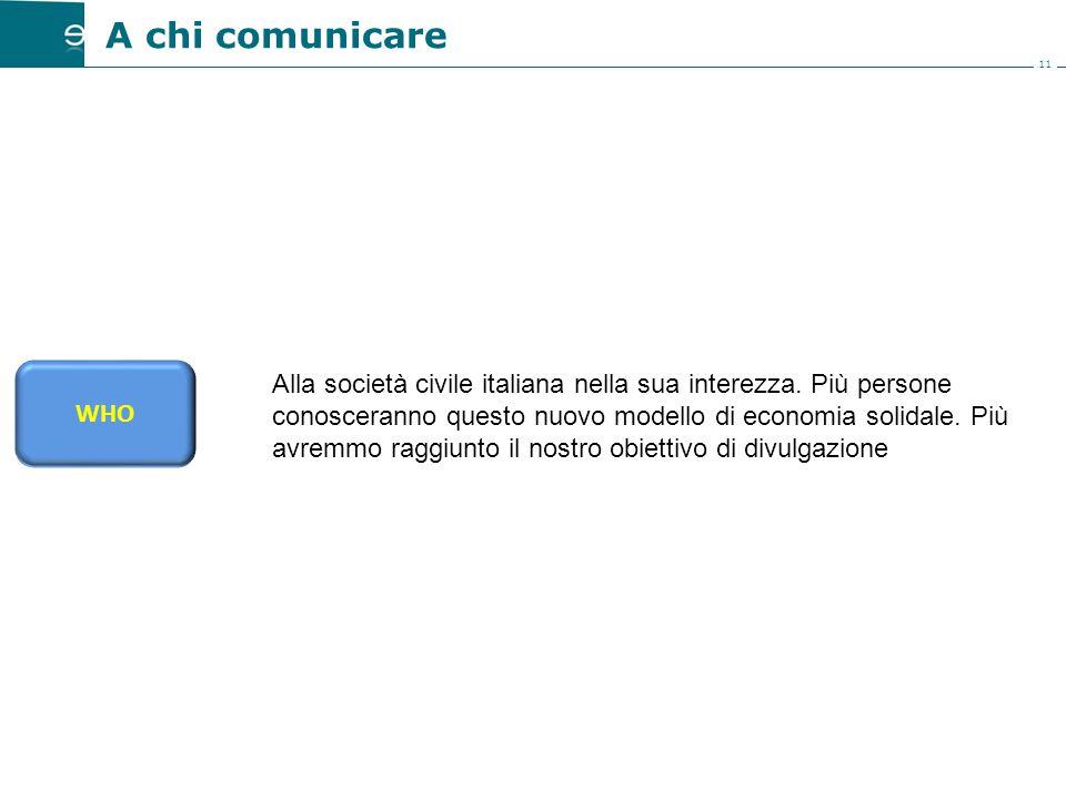11 A chi comunicare Alla società civile italiana nella sua interezza.