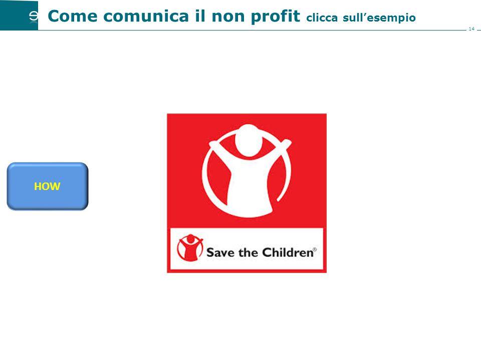 14 Come comunica il non profit clicca sull'esempio HOW