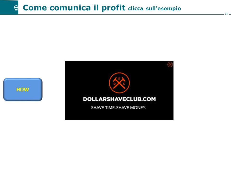 15 Come comunica il profit clicca sull'esempio HOW