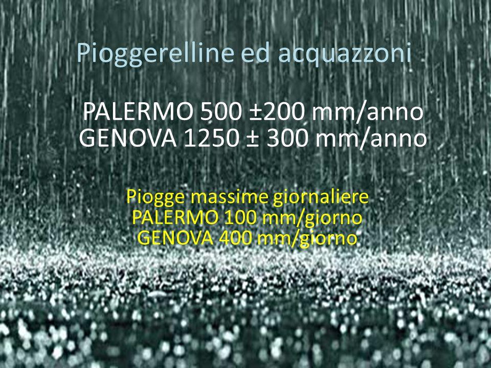 Pioggerelline ed acquazzoni PALERMO 500 ±200 mm/anno GENOVA 1250 ± 300 mm/anno Piogge massime giornaliere PALERMO 100 mm/giorno GENOVA 400 mm/giorno