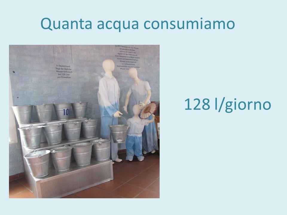 Quanta acqua consumiamo 128 l/giorno