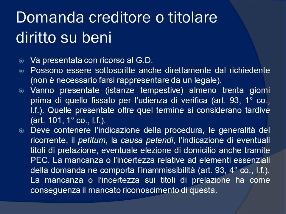 Ammissione con riserva (2)  Al creditore ammesso con riserva non possono essere attribuite quote di riparto fino a quando non è ammesso definitivamente.