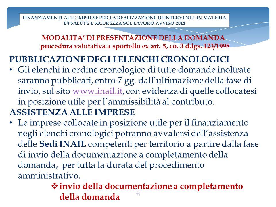 PUBBLICAZIONE DEGLI ELENCHI CRONOLOGICI Gli elenchi in ordine cronologico di tutte domande inoltrate saranno pubblicati, entro 7 gg. dall'ultimazione