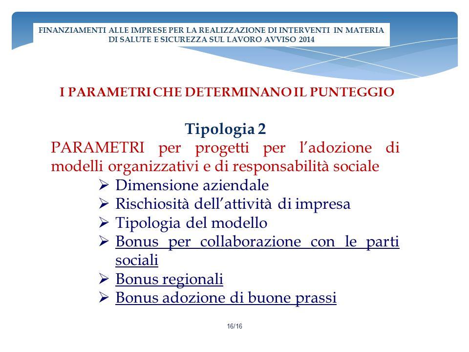 I PARAMETRI CHE DETERMINANO IL PUNTEGGIO Tipologia 2 PARAMETRI per progetti per l'adozione di modelli organizzativi e di responsabilità sociale  Dime