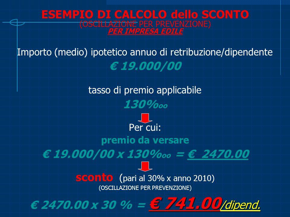 ESEMPIO DI CALCOLO dello SCONTO (OSCILLAZIONE PER PREVENZIONE) PER IMPRESA EDILE Importo (medio) ipotetico annuo di retribuzione/dipendente € 19.000/0