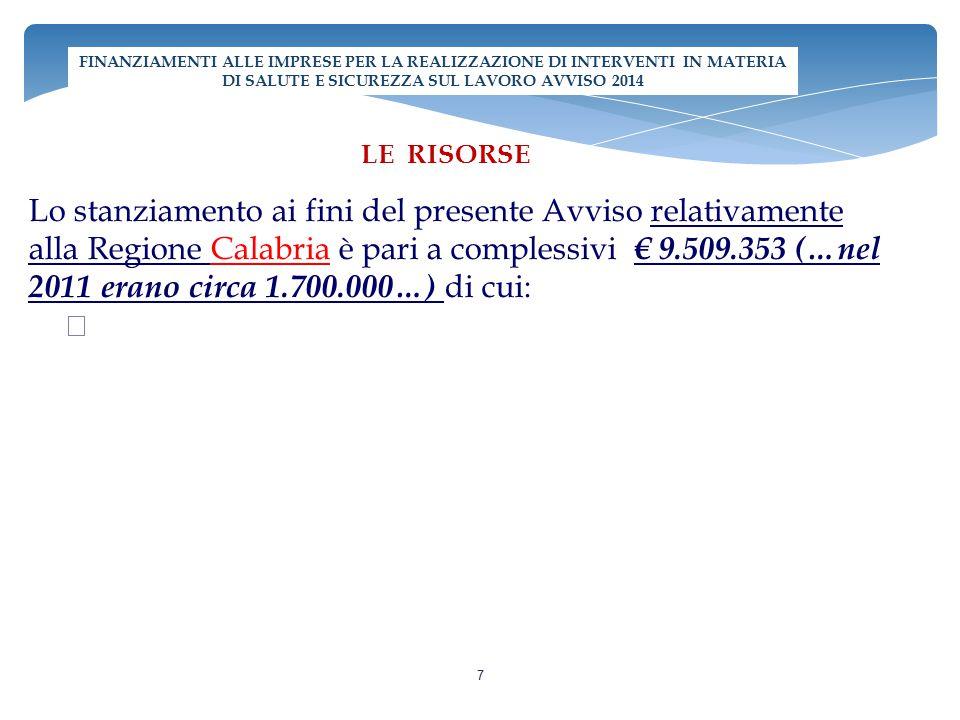 Lo stanziamento ai fini del presente Avviso relativamente alla Regione Calabria è pari a complessivi € 9.509.353 (…nel 2011 erano circa 1.700.000…) di