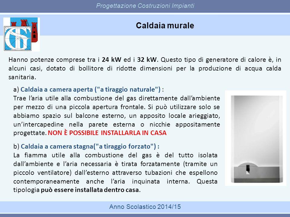 Caldaia murale Progettazione Costruzioni Impianti Anno Scolastico 2014/15 Hanno potenze comprese tra i 24 kW ed i 32 kW. Questo tipo di generatore di