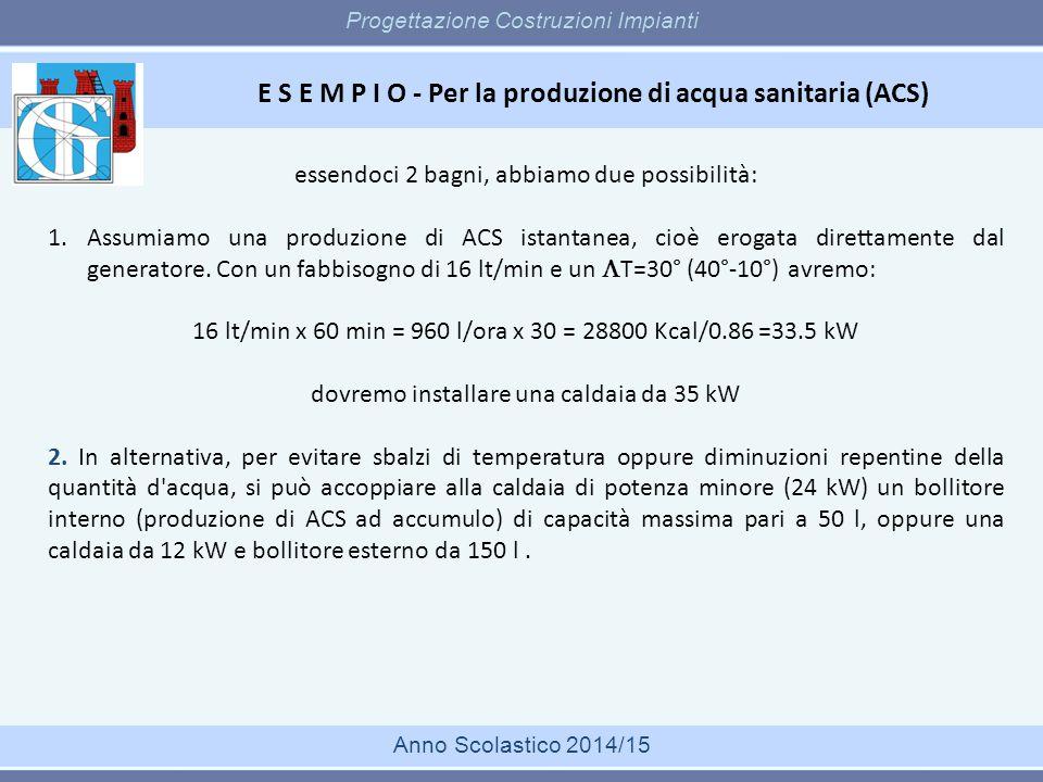 E S E M P I O - Per la produzione di acqua sanitaria (ACS) Progettazione Costruzioni Impianti Anno Scolastico 2014/15 essendoci 2 bagni, abbiamo due p
