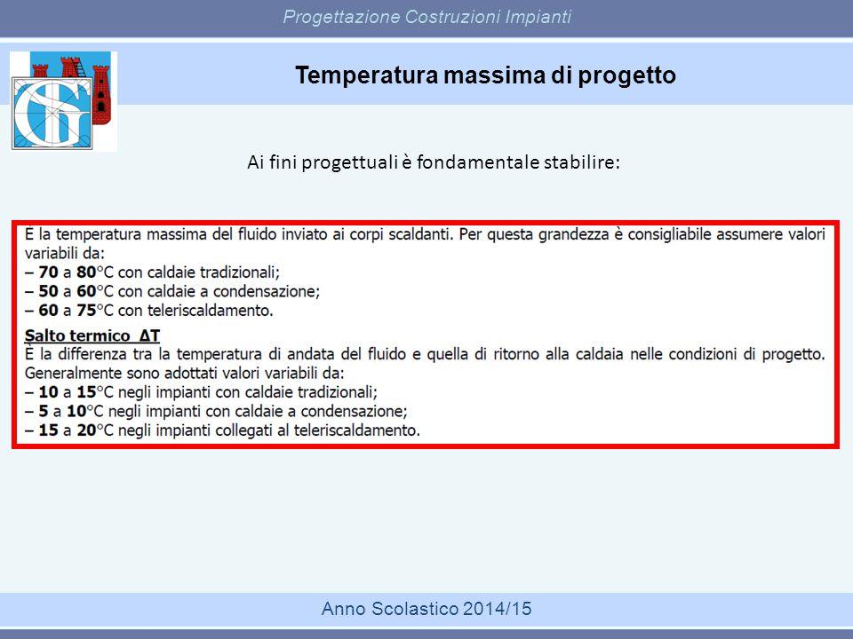 Temperatura massima di progetto Progettazione Costruzioni Impianti Anno Scolastico 2014/15 Ai fini progettuali è fondamentale stabilire: