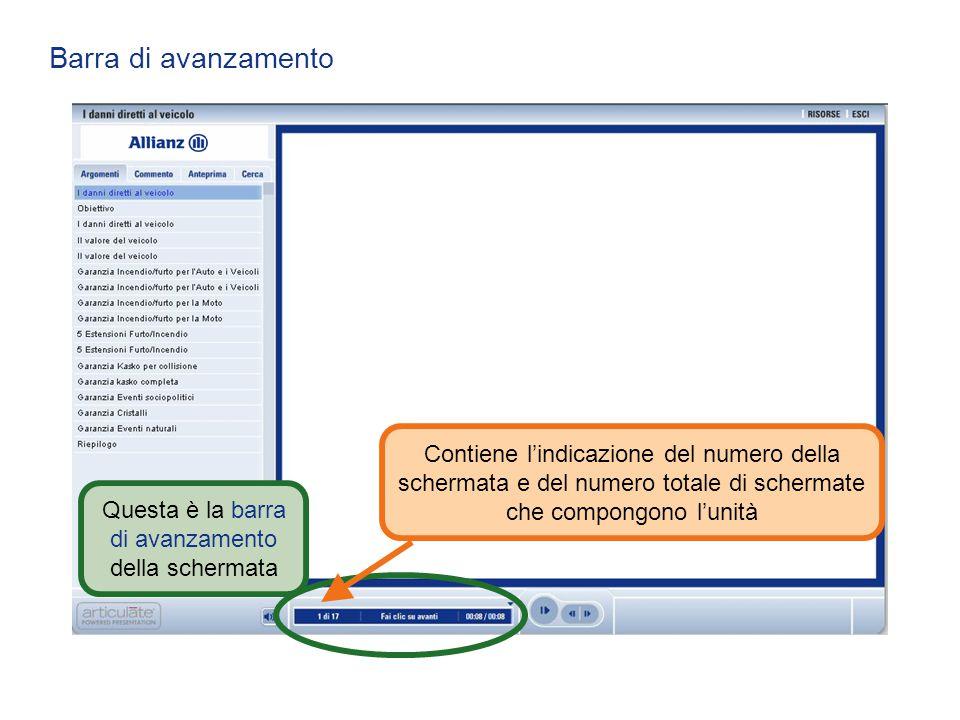 Barra di avanzamento Questa è la barra di avanzamento della schermata Contiene l'indicazione del numero della schermata e del numero totale di scherma