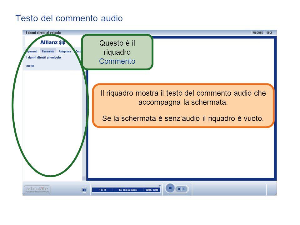 Testo del commento audio Questo è il riquadro Commento Il riquadro mostra il testo del commento audio che accompagna la schermata. Se la schermata è s