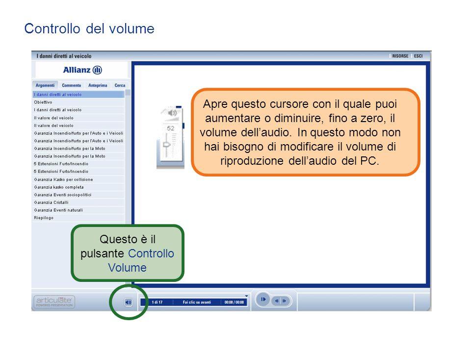 Controllo del volume Questo è il pulsante Controllo Volume Apre questo cursore con il quale puoi aumentare o diminuire, fino a zero, il volume dell'au
