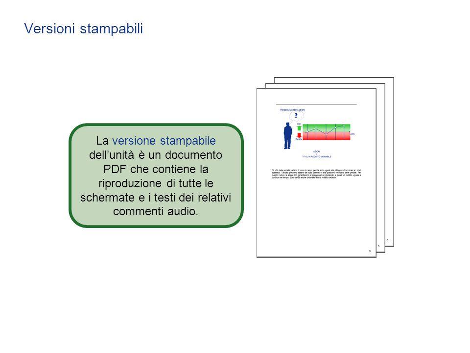 Versioni stampabili La versione stampabile dell'unità è un documento PDF che contiene la riproduzione di tutte le schermate e i testi dei relativi com