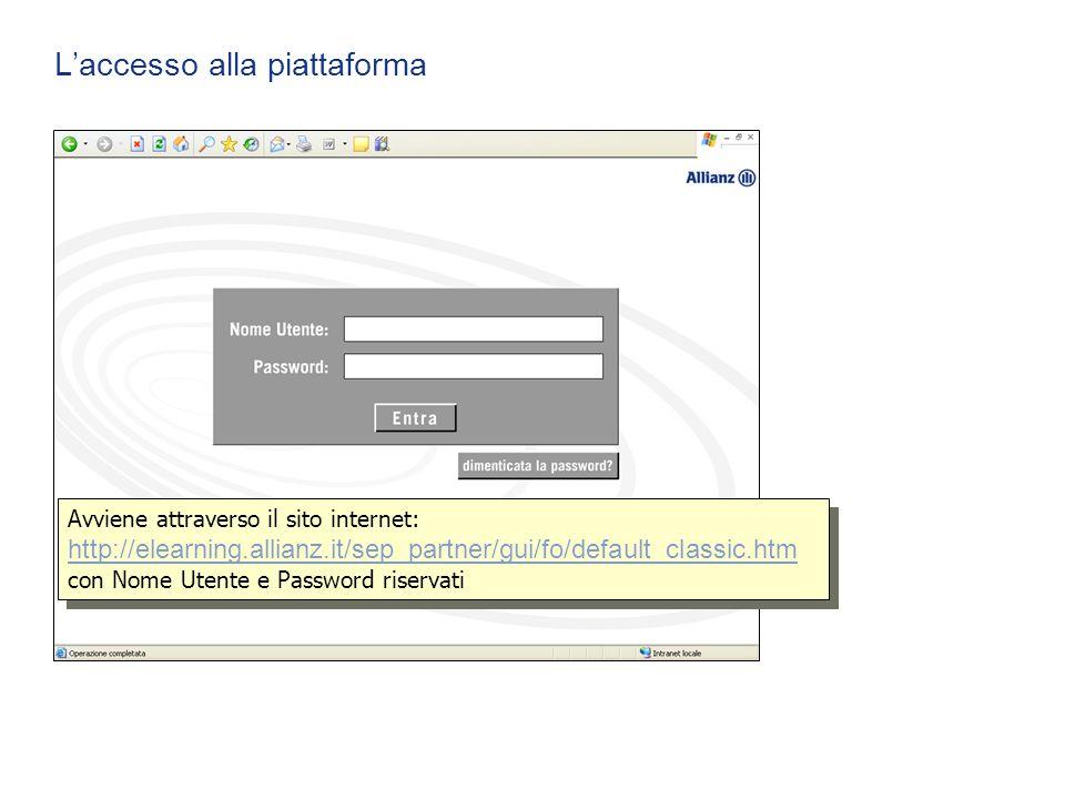 L'accesso alla piattaforma Avviene attraverso il sito internet: http://elearning.allianz.it/sep_partner/gui/fo/default_classic.htm con Nome Utente e P