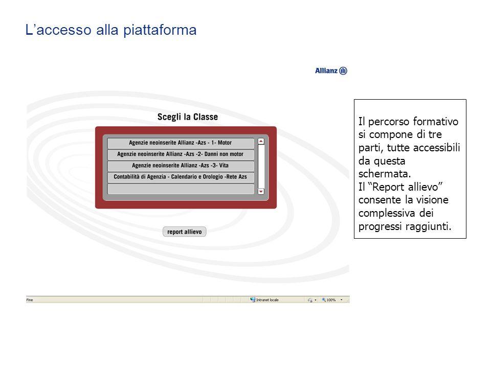 """L'accesso alla piattaforma Il percorso formativo si compone di tre parti, tutte accessibili da questa schermata. Il """"Report allievo"""" consente la visio"""