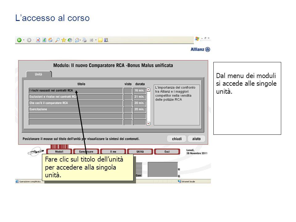 L'accesso al corso Fare clic sul titolo dell'unità per accedere alla singola unità. Dal menu dei moduli si accede alle singole unità.