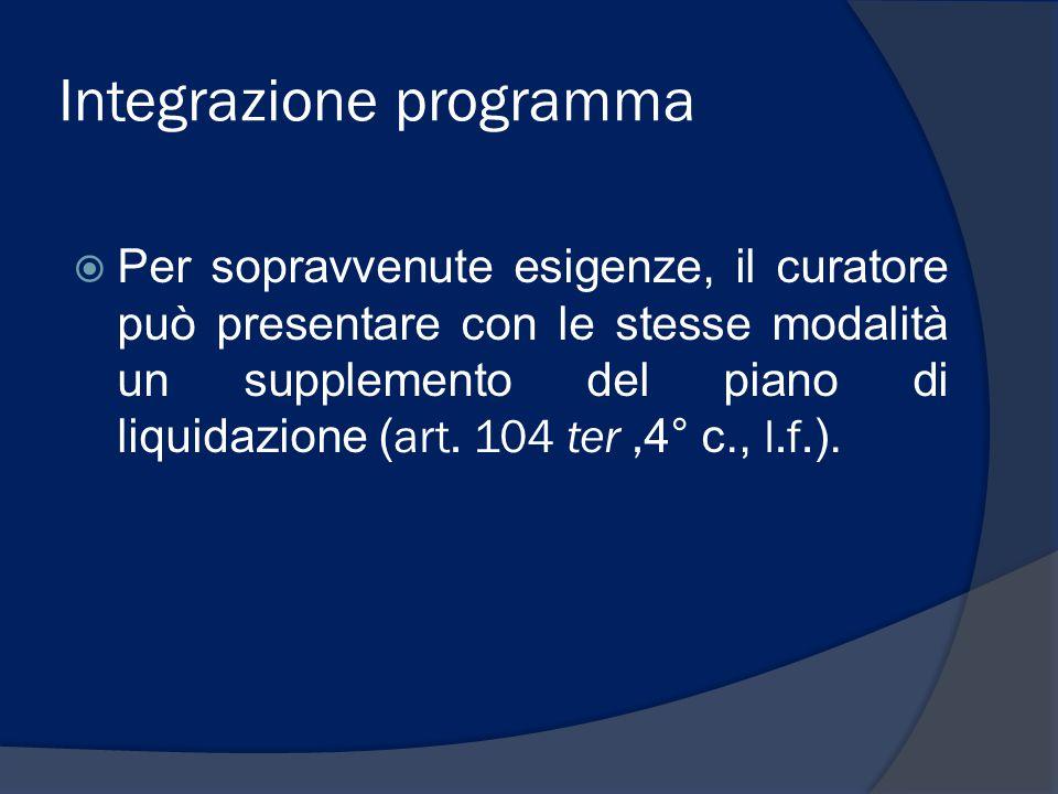 Integrazione programma  Per sopravvenute esigenze, il curatore può presentare con le stesse modalità un supplemento del piano di liquidazione ( art.